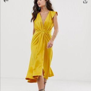 Asos design knot front plunge midi dress